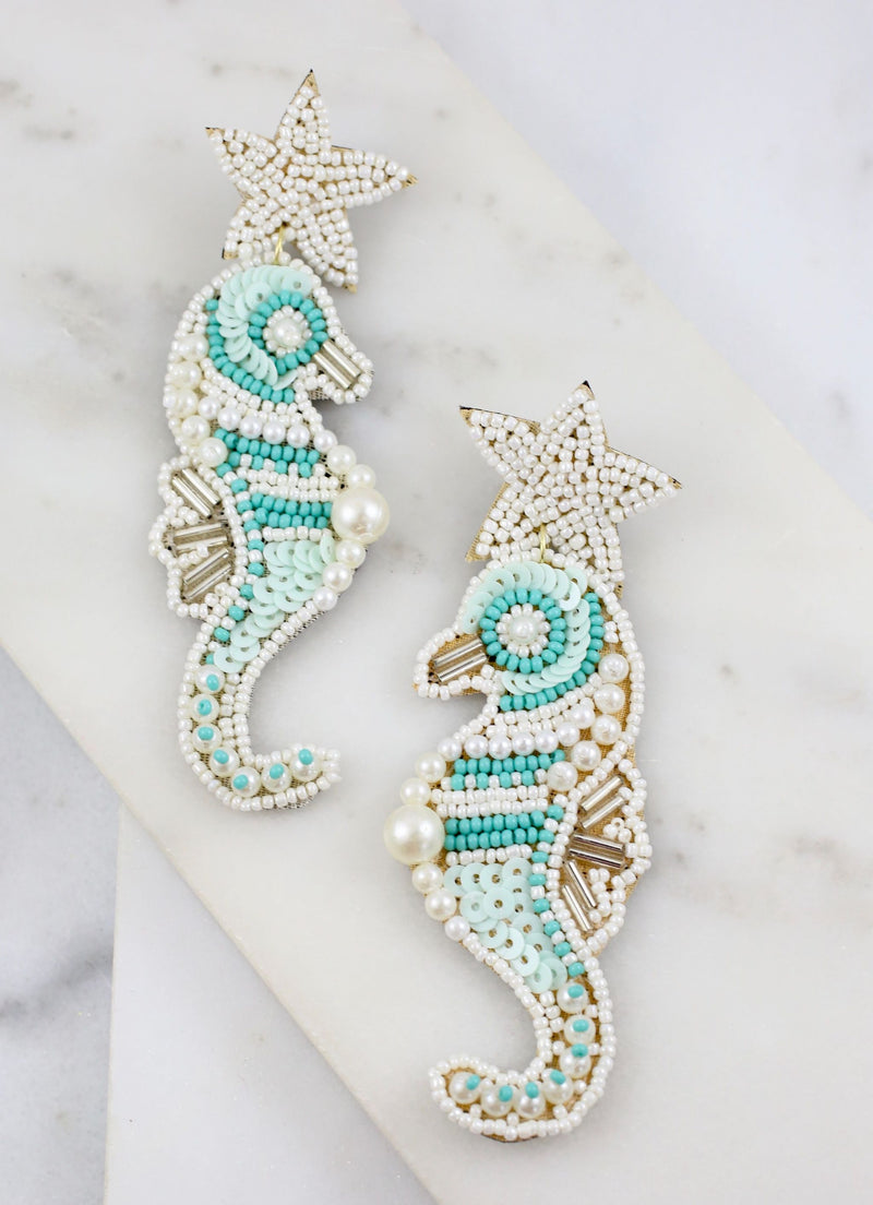Anaheim Embellished Seahorse Earring White - Caroline Hill