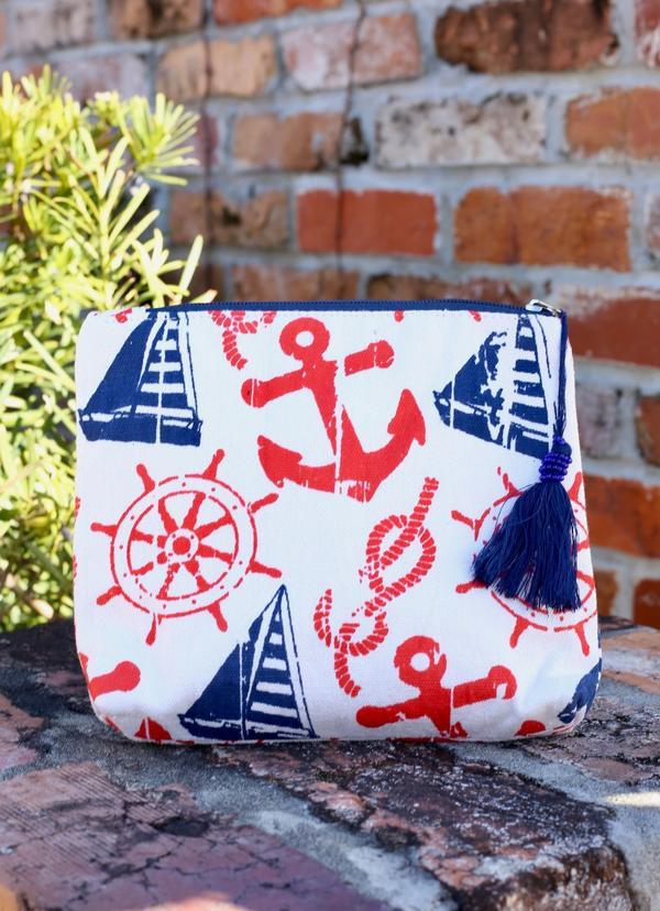 Anchors Away Pouch Red - Caroline Hill