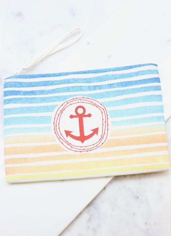 Anchors Away Striped Pouch Blue - Caroline Hill