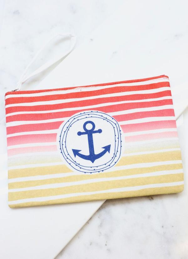 Anchors Away Striped Pouch Red - Caroline Hill