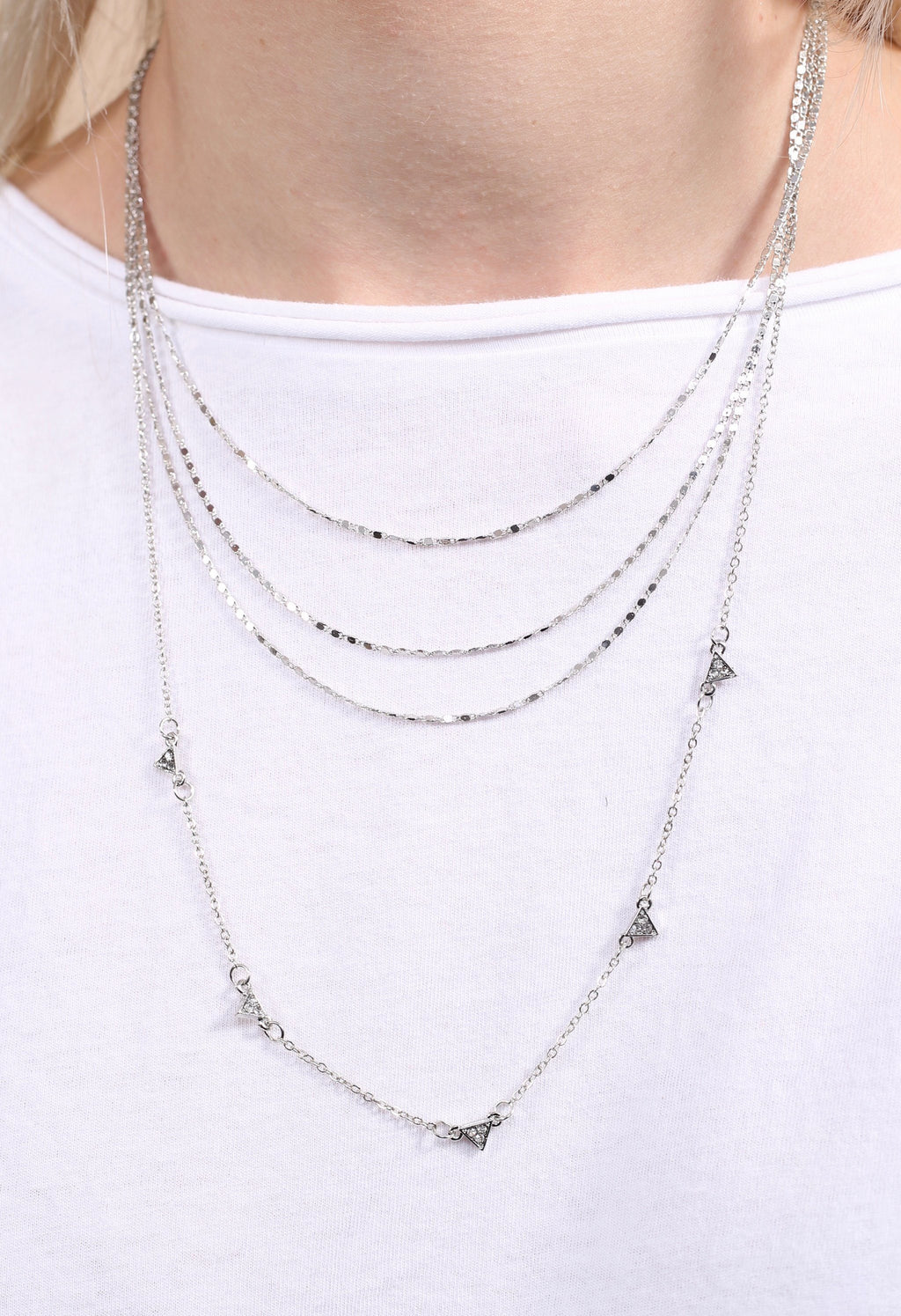 Andes Triple Layer Silver Necklace - Caroline Hill