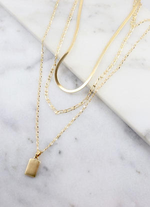 Angelica Triple Layer Necklace Gold - Caroline Hill