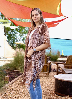 Anna Maria Brown Animal Print Kimono - Caroline Hill