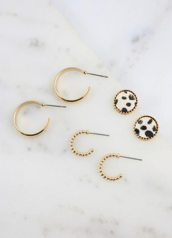 Antiope 3 Piece Earring Set Ivory - Caroline Hill