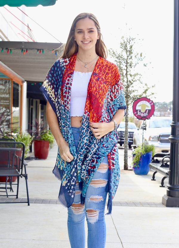 Arcadia Orange Abstract Kimono - Caroline Hill
