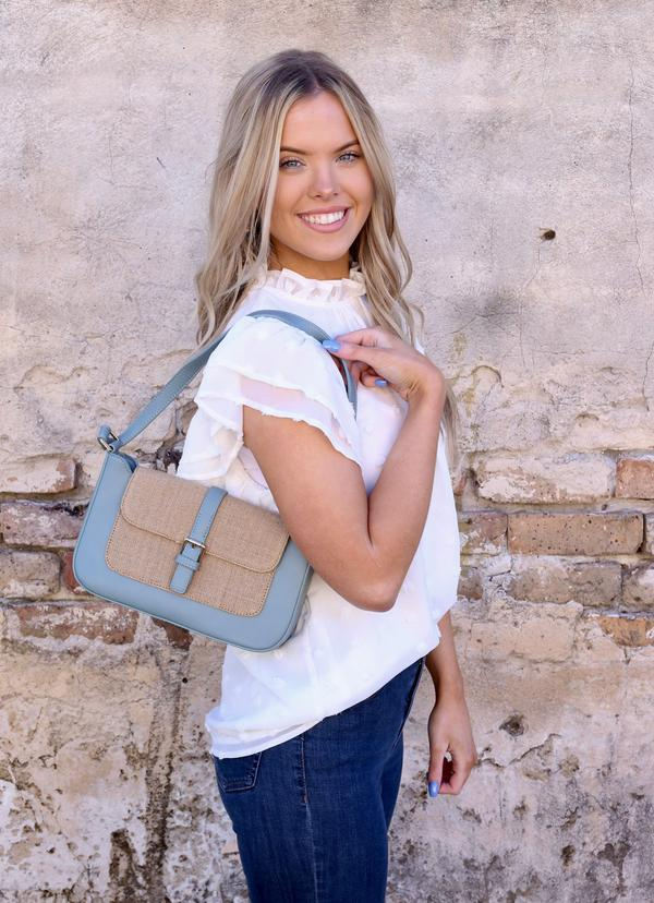 Aretha Shoulder Bag With Jute Accent Dusty Blue - Caroline Hill