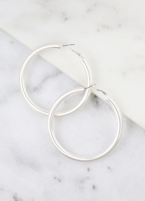 Arks Medium Silver Satin Hoop - Caroline Hill