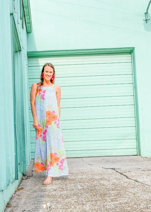 Aruba Sands Tropical Blue Leopard Jumpsuit - Caroline Hill