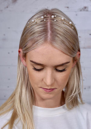 Aryn Pearl Metal Headband Gold - Caroline Hill