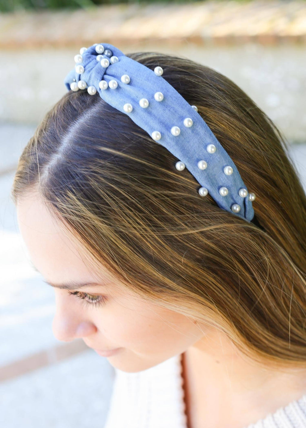 Audrey Denim and Pearl Headband - Caroline Hill