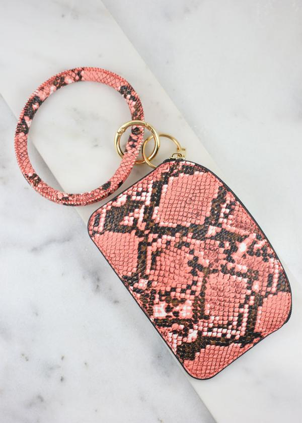 Audrina Snake Keychain Pouch Coral - Caroline Hill