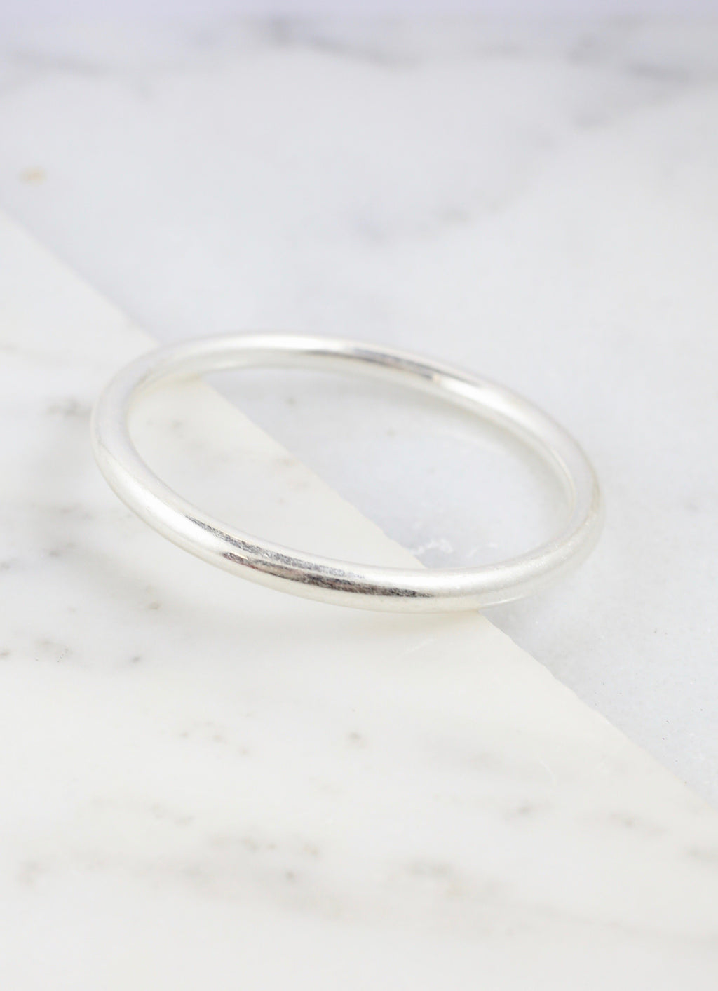 Avera 6MM Worn Silver Bangle - Caroline Hill
