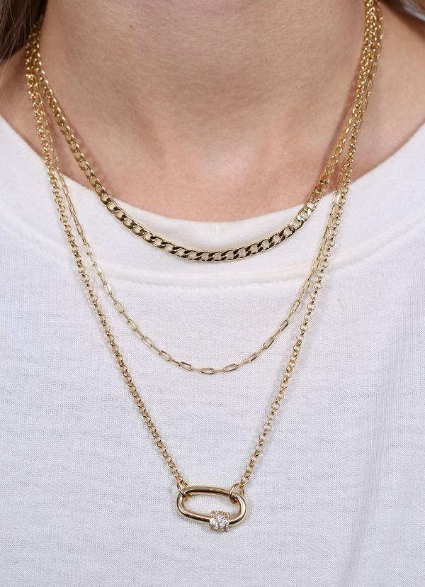 Avon Layered Chain Necklace With Cz Lock Gold - Caroline Hill
