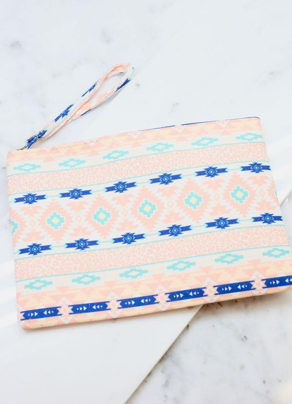 Aztec And Animal Print Pouch Peach - Caroline Hill