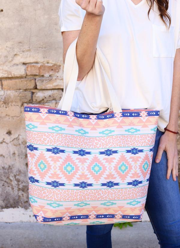 Aztec And Animal Print Tote Bag Peach - Caroline Hill