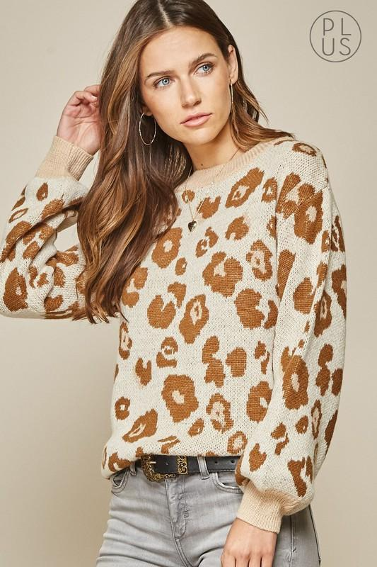 Back Together Taupe Leopard Sweater - Caroline Hill
