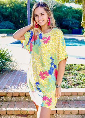 Bahama Mama Tropical Yellow Leopard Dress - Caroline Hill