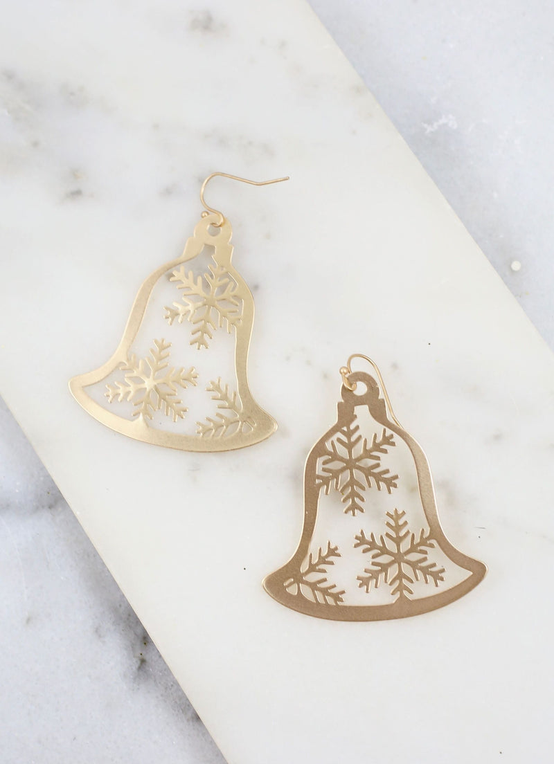 Bailey Metal Snowflake Bell Earring Gold - Caroline Hill