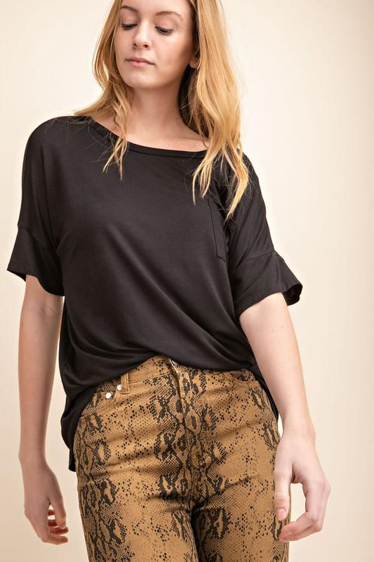 Bamboo Pocket Black Top - Caroline Hill