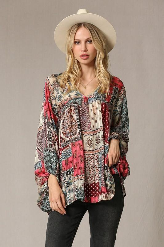 Band of Gypsies Coral Flowy Top - Caroline Hill