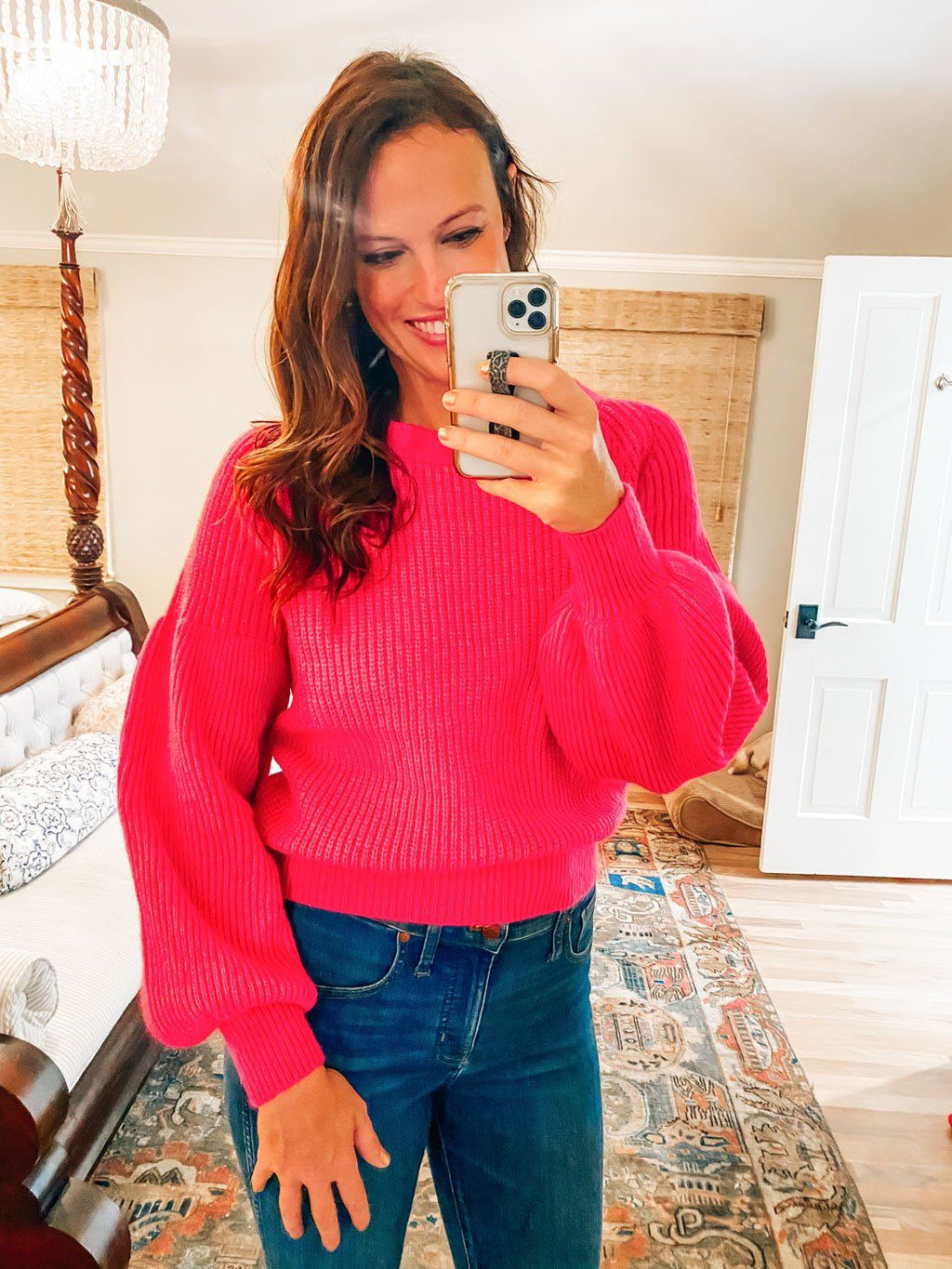 Barbie Girl Fuchsia Puff Sleeve Sweater - Caroline Hill