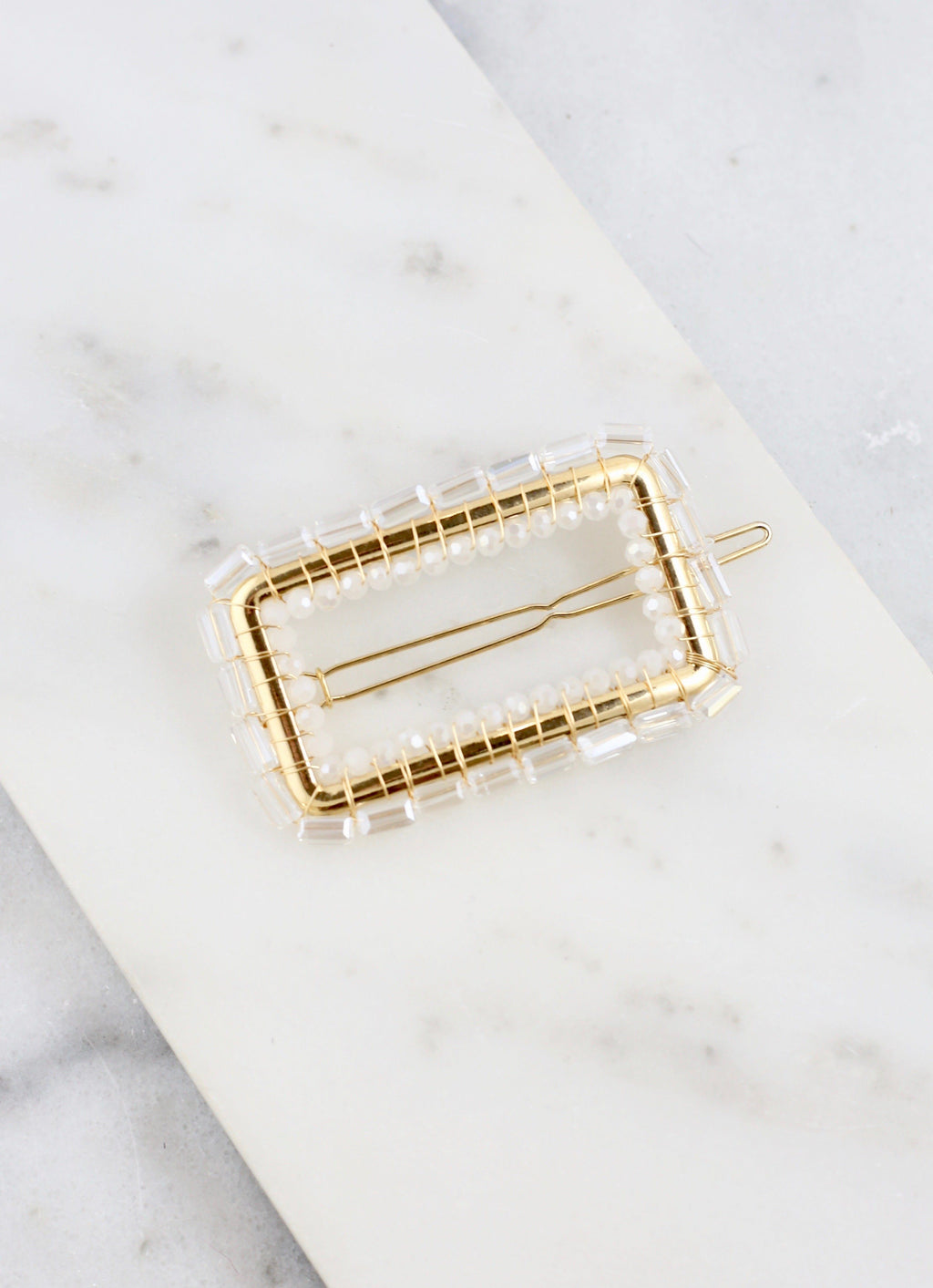 Barry Clear Beaded Square Hair Clip - Caroline Hill