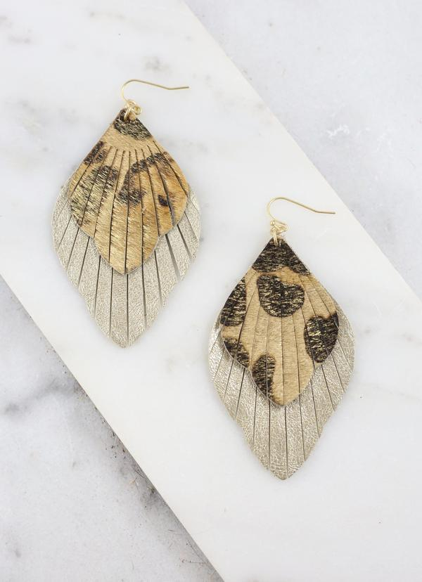 Bartow Gold Leopard Feather Earring - Caroline Hill