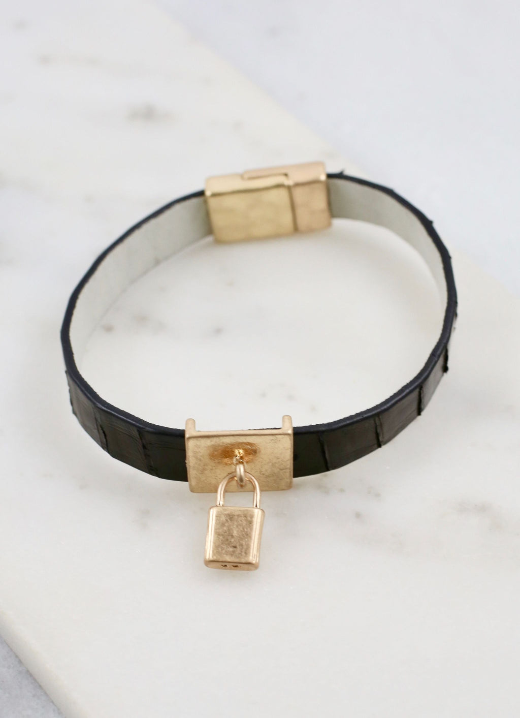 Baxter Magnetic Leather Bracelet With Lock Charm Black - Caroline Hill