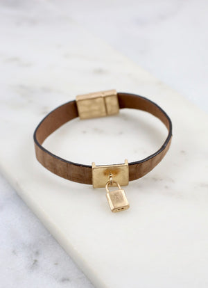 Baxter Magnetic Leather Bracelet With Lock Charm Brown - Caroline Hill