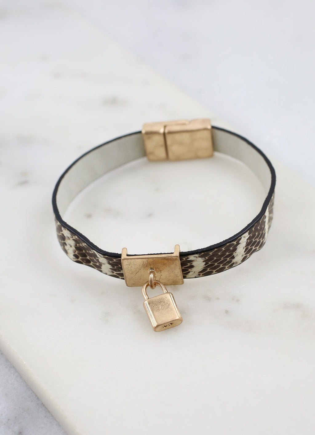Baxter Magnetic Leather Bracelet With Lock Charm Taupe - Caroline Hill