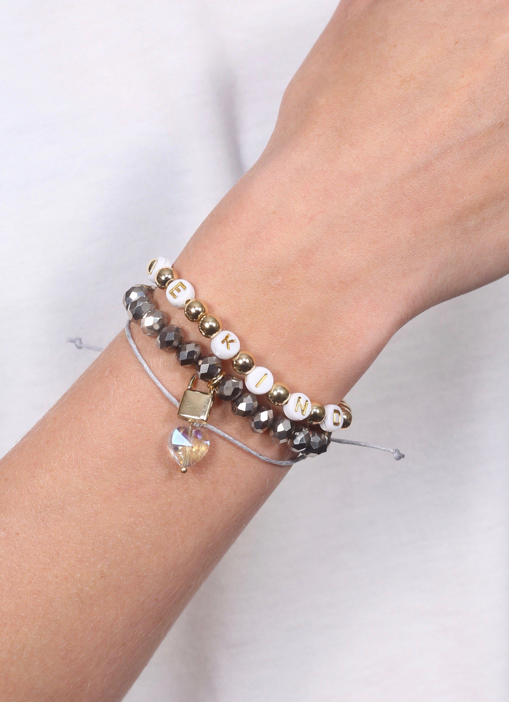 Be Kind Hematite Beaded Bracelet Set - Caroline Hill