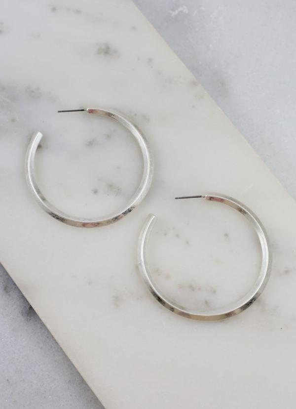 Bearden Worn Metal Post Hoop Worn Silver - Caroline Hill