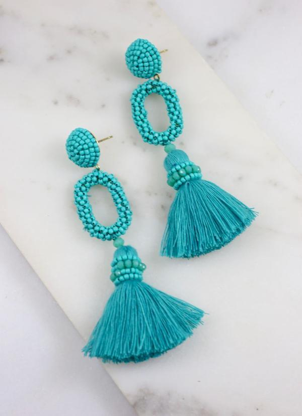 Bermuda Seed Bead And Tassel Post Earring Aqua - Caroline Hill
