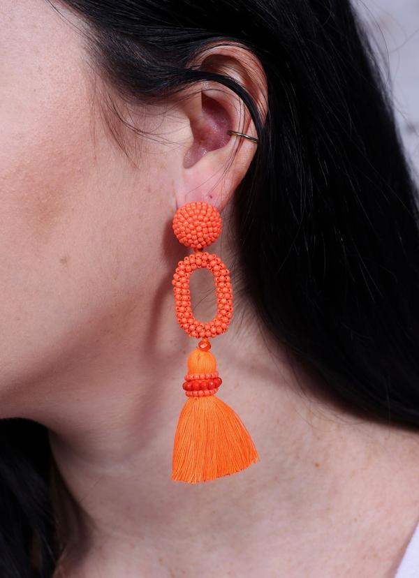 Bermuda Seed Bead And Tassel Post Earring Neon Orange - Caroline Hill