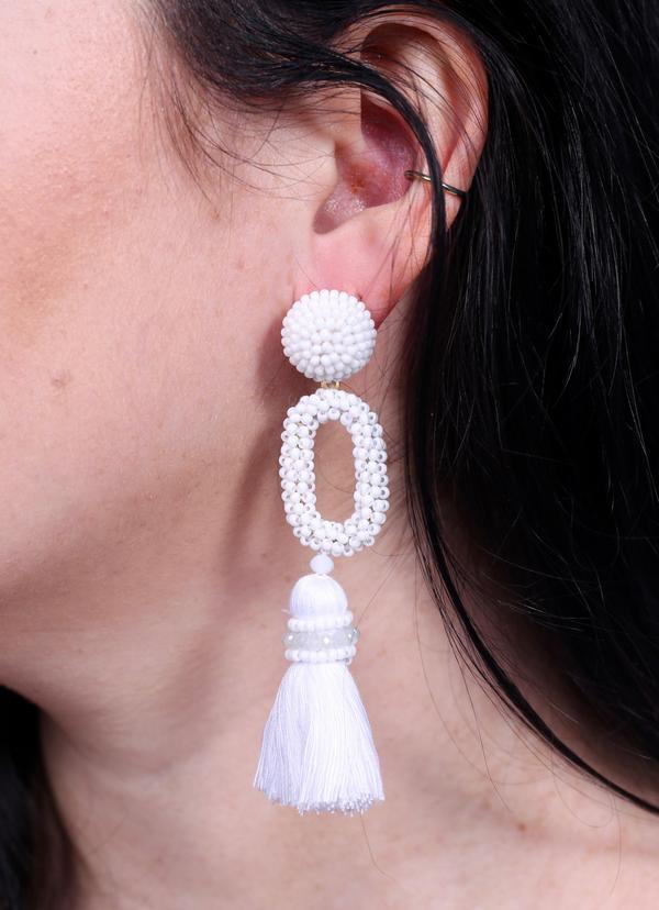 Bermuda Seed Bead And Tassel Post Earring White - Caroline Hill