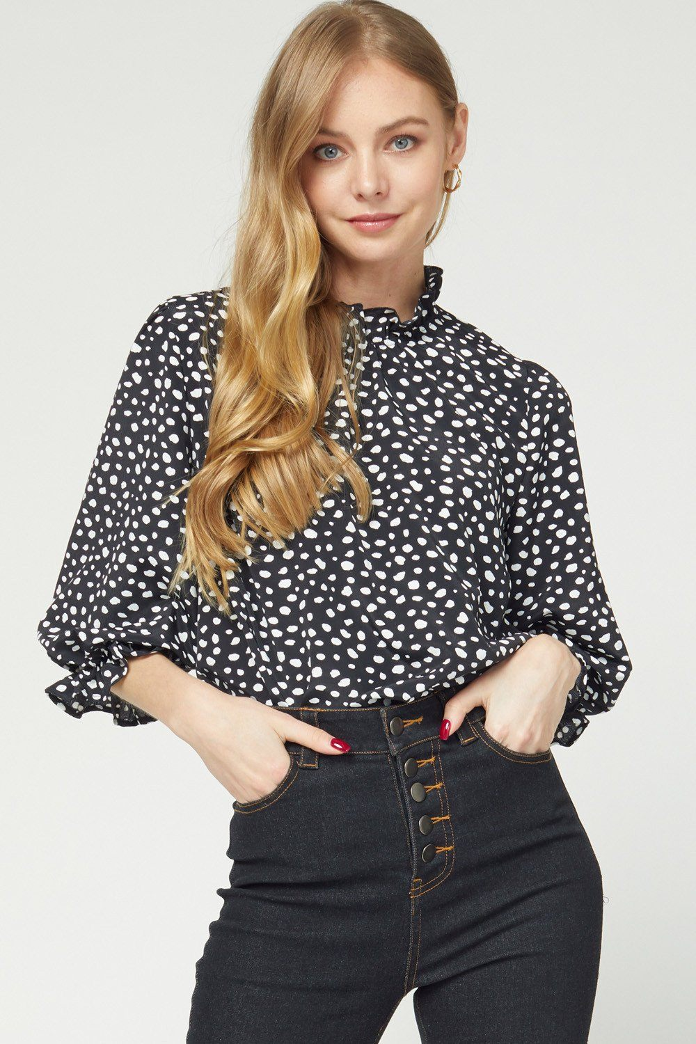 Better Together Black Spotted Top - Caroline Hill