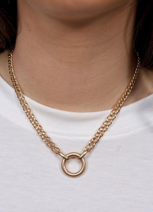 Bhandari Necklace With Circle Accent Gold - Caroline Hill