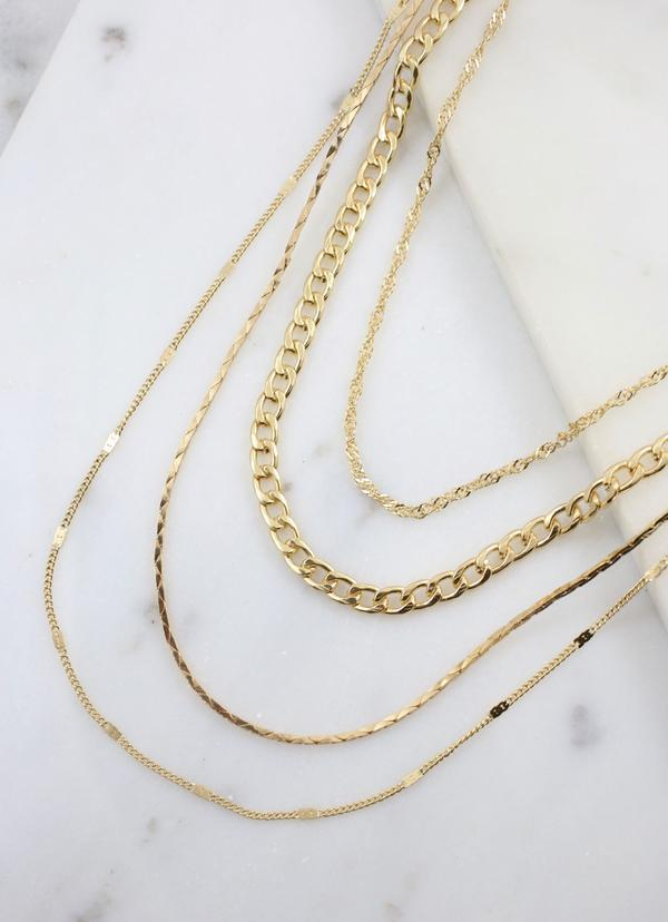 Biggins Multi Layered Necklace Gold - Caroline Hill