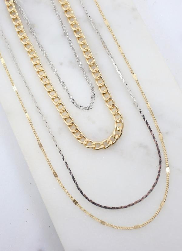Biggins Multi Layered Necklace Gold Silver - Caroline Hill