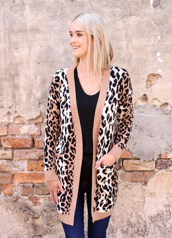 Bigley Leopard Cardigan Brown - Caroline Hill