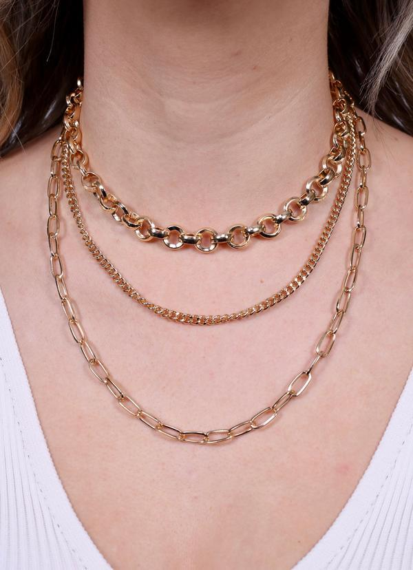 Billingsley Triple Layer Link Necklace Gold - Caroline Hill