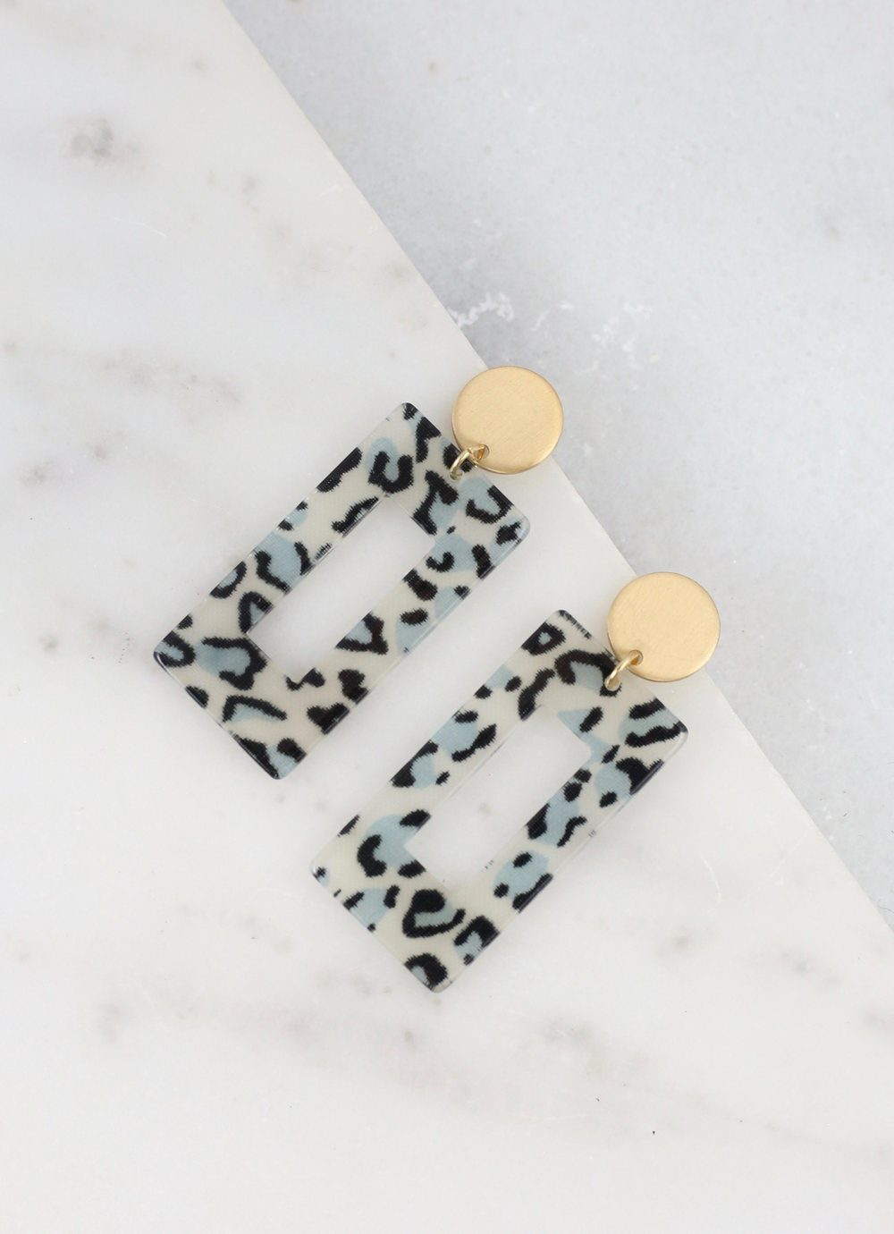 Bitsy Black Leopard Resin Earring - Caroline Hill