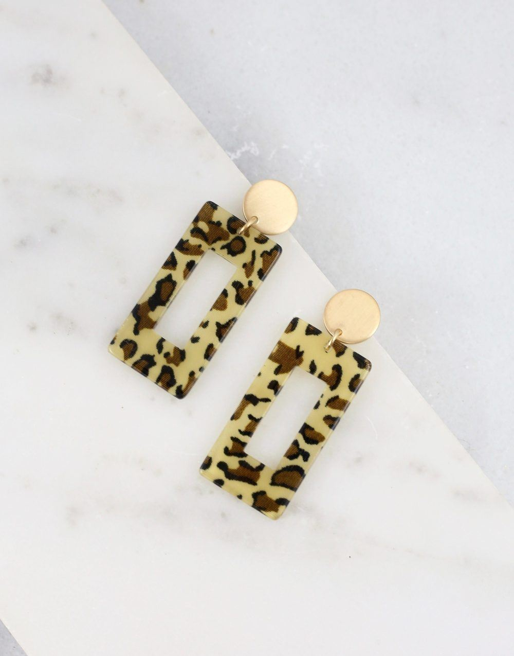 Bitsy Brown Leopard Resin Earring - Caroline Hill