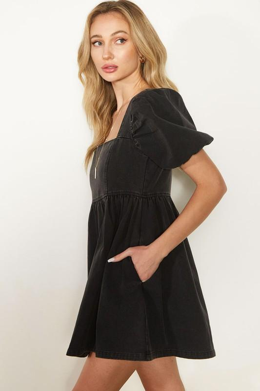 Black Denim Puff Sleeve Dress - Caroline Hill