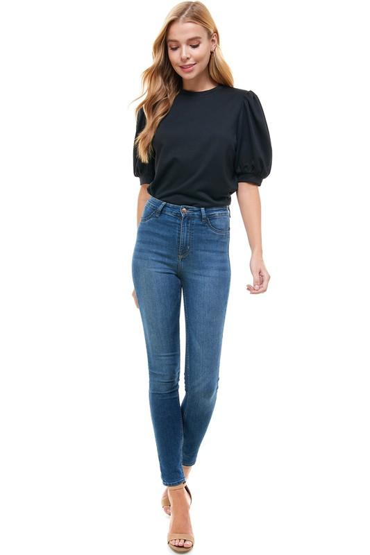 Black Puff Sleeve Top - Caroline Hill
