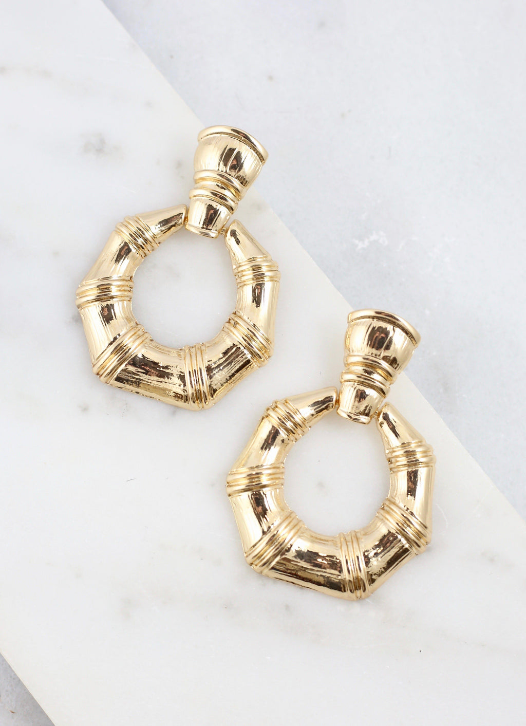 Bloates Gold Bamboo Drop Earring - Caroline Hill