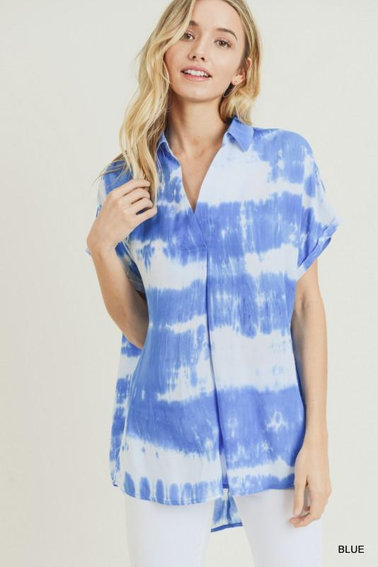 Blue As The Sky Tie Dye Top - Caroline Hill