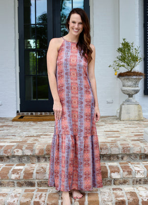 Bohemian Rhapsody Sunset Snake Maxi Dress - Caroline Hill