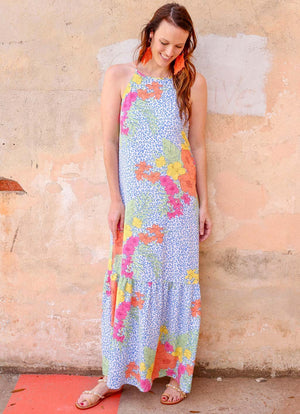 Bohemian Rhapsody Tropical Blue Leopard Maxi Dress - Caroline Hill