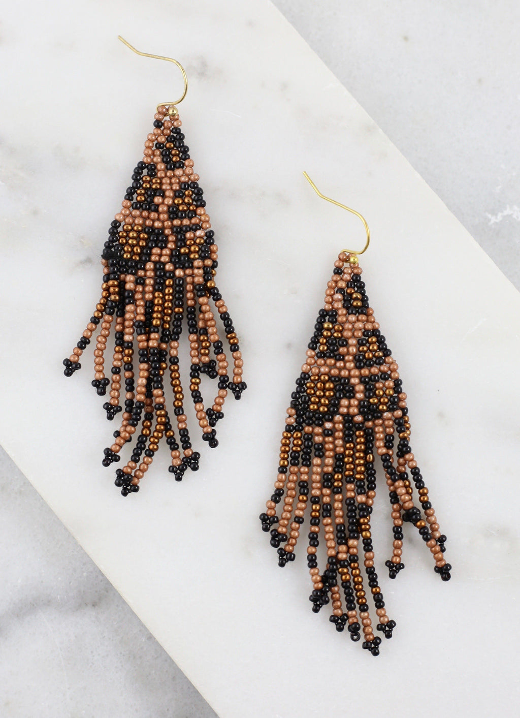 Bolen Brown Leopard Beaded Earring - Caroline Hill